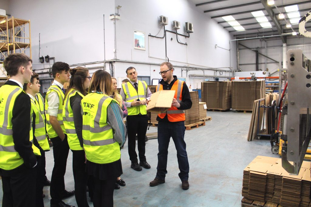 Jame Pedley of GWP Packaging with students and staff from UTC Swindon