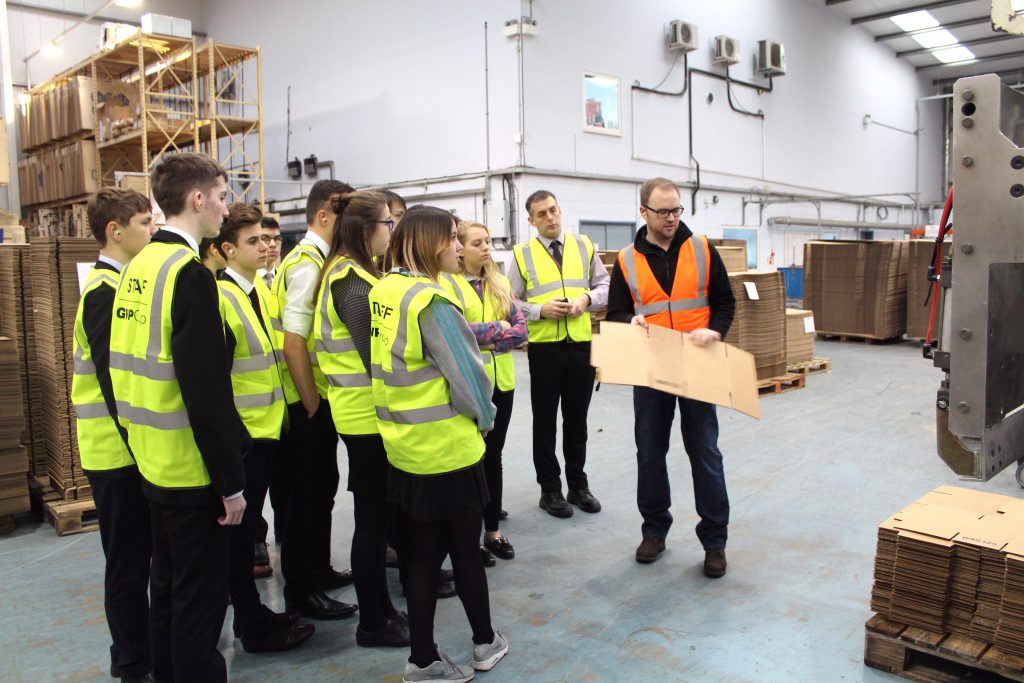James Pedley of GWP Packaging with UTC Swindon students